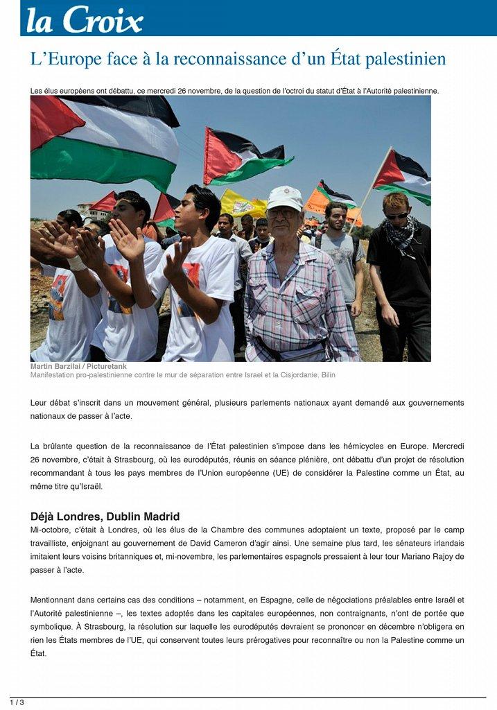 La Croix - Palestine